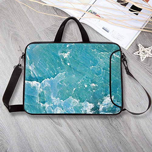 (Marble Large Capacity Neoprene Laptop Bag,Artful Mineral Crystal Motif Mine Old Stone Pattern in Vibrant Tones Print Laptop Bag for 10 Inch to 17 Inch Laptop,17.3
