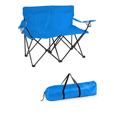 Trademark Innovations Loveseat Style Double Camp Chair with Steel Frame, Blue : Sports & Outdoors