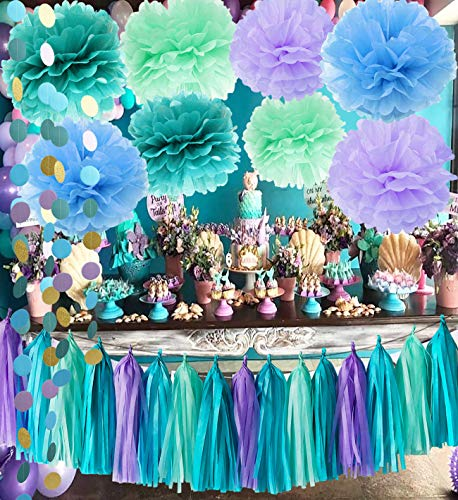 Qian's Party Under The Sea Party Supplies/Mermaid Decorations Teal Purple Mint Tissue Pom First Birthday Decorations Baby Shower Decorations Purple Mermaid Party Supplies/Mermaid Bridal Shower Decor]()