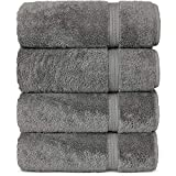 Premium Turkish Cotton 4-Piece Bath Towels for Bathroom, Gray Larger Image