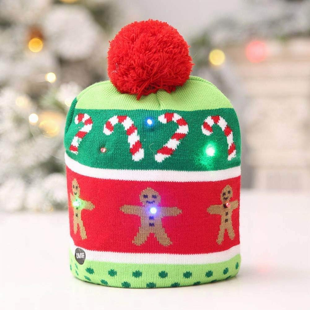 AKAMAS LED Light Up Christmas Hat Novelty Knitting Beanie Cap Winter Party Chirstmas
