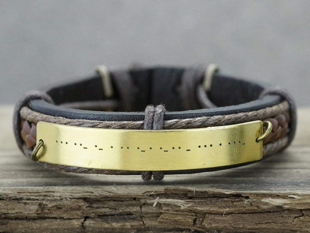 Mens Leather Friendship brown Cuff Brass Gift for Him BFF Jewelry Custom Hidden Message Morse Code bracelet Best Friends