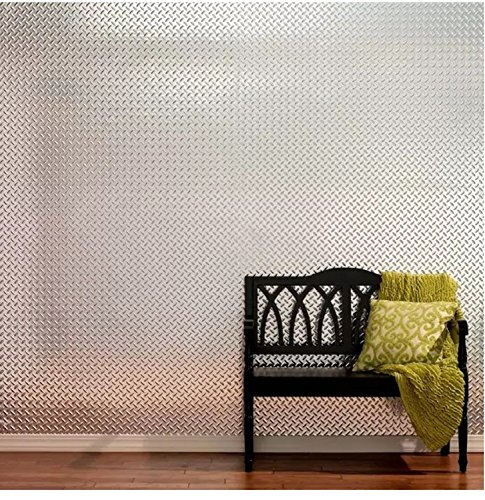 1 Piece Diamond Plate Inspired Design Wall Panels, Featuring Unique Industrial Style Home Decor, Contemporary Architectural Stylish Artful Canvas Kitchen Bedroom Living Room Wallpapers, Silver