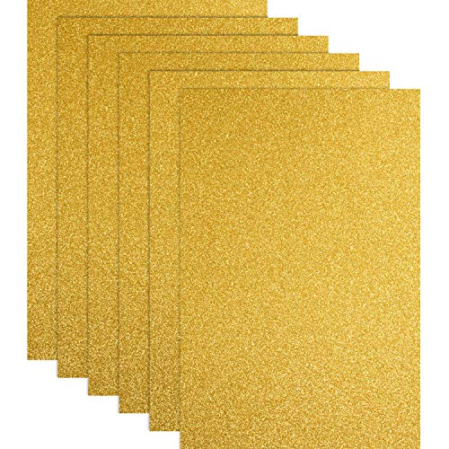 Glitter Heat Transfer Vinyl for T-Shirts 10 x 12 Inches 6 Sheets(Gold)