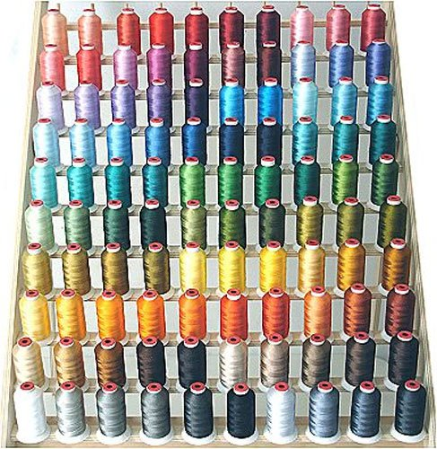 ThreaDelight 100 Spool Polyester Embroidery Machine Thread Set 100 Most Vibrant Colors - 1100YDS - 40wt for Brother Babylock Janome Singer Pfaff Husquarna Bernina Melco Machines Brand P-0102