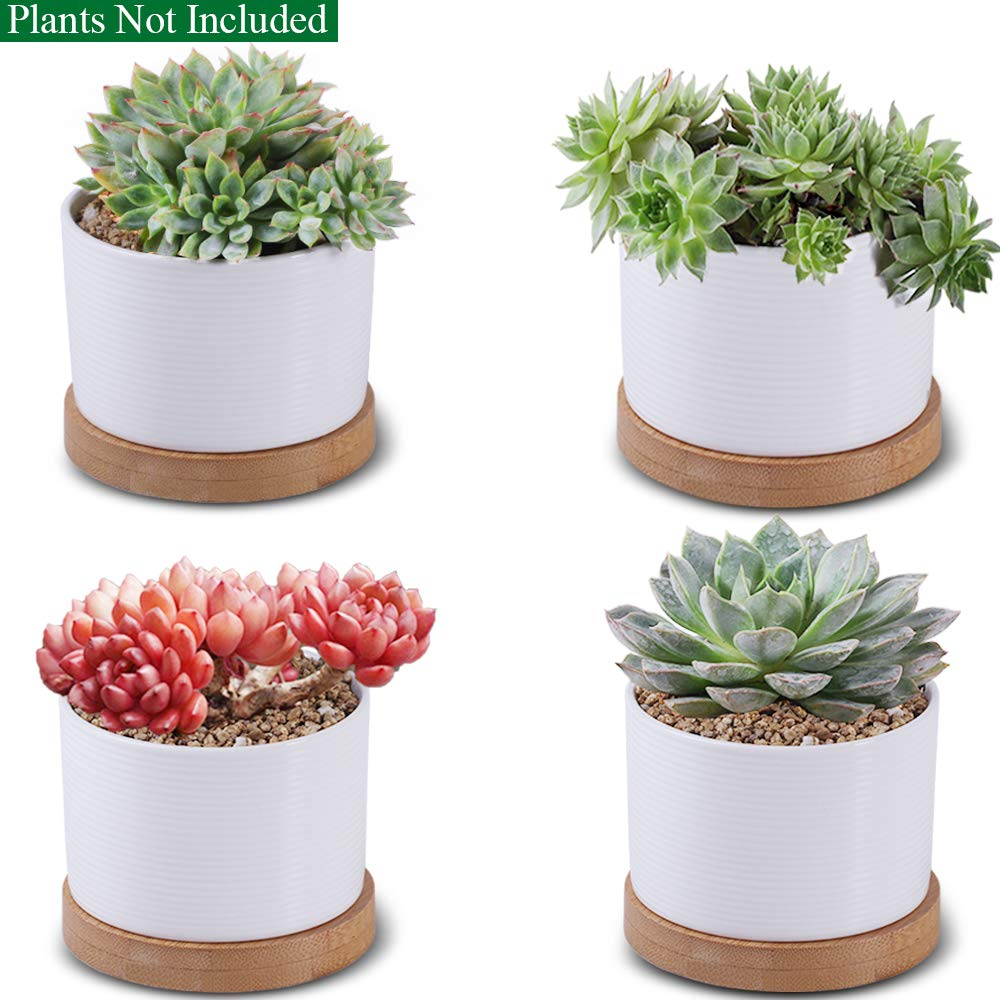 Unibene 3 Inch White Striped Ceramic Contemporary Cylinder Cactus Succulent Pots with Bamboo Tray and Drainage Hole, Indoor Bonsai Planters Containers, Decor for Home Office Garden Kitchen - 4 Pack