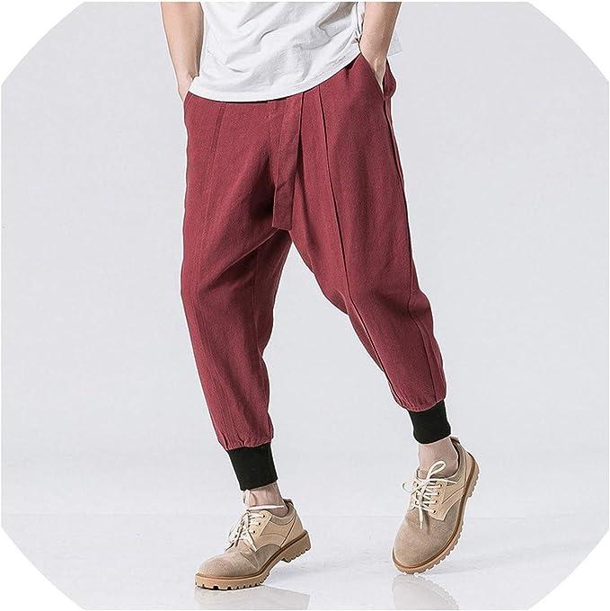 SELX Men Loose Fit Plus Size Chinese Style Cotton Linen Harem Capri Pants