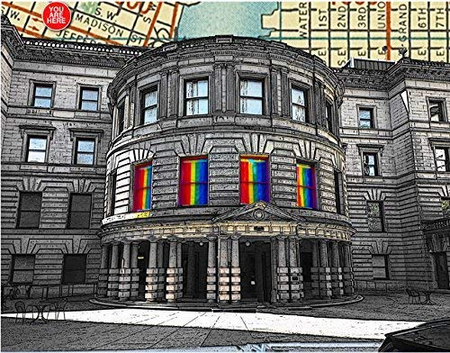 (Pride at Portland, Oregon City Hall. Rainbow flags in windows. Art Print, YOU ARE HERE, original map print, 8.5