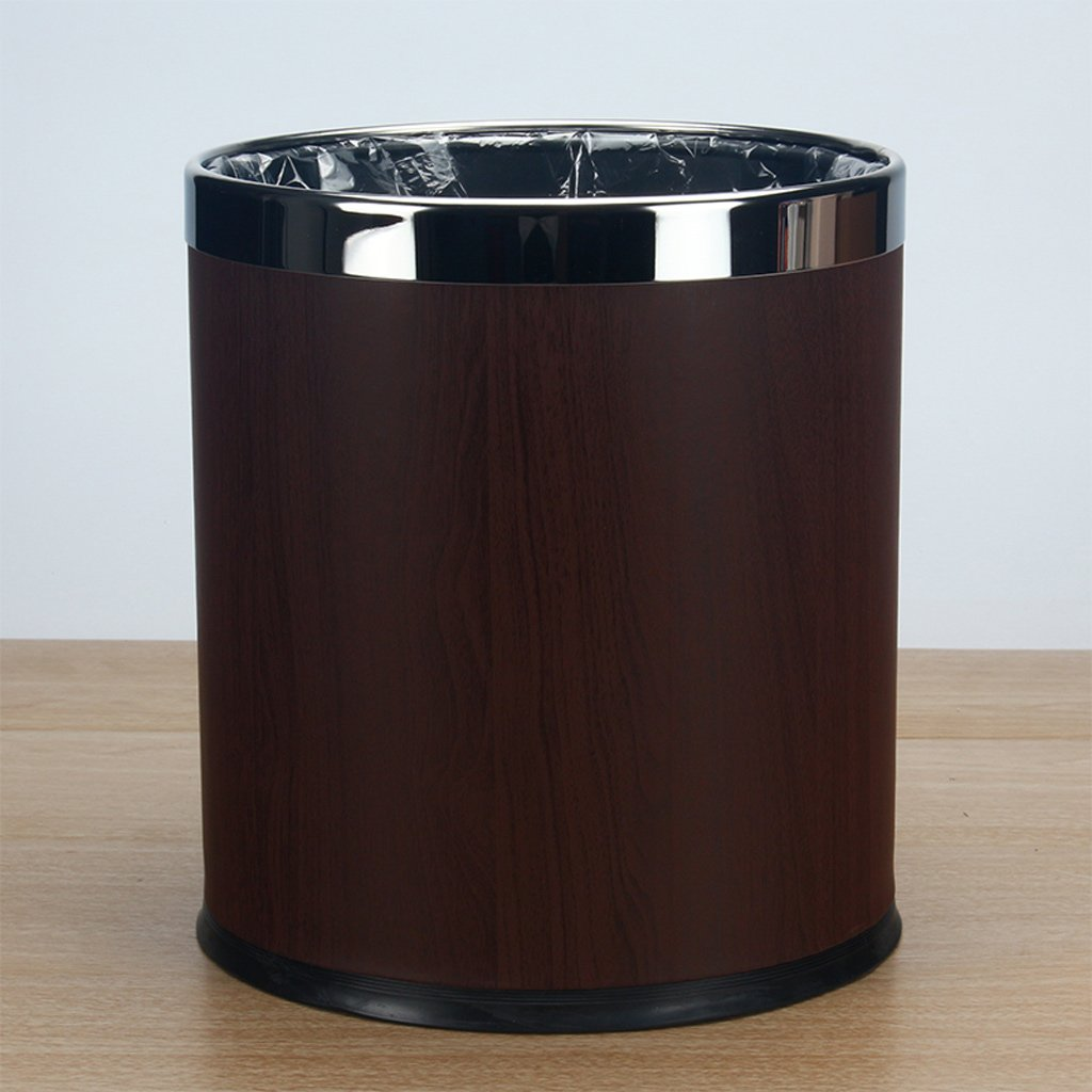 DTH Trash Can Stainless Steel Indoor Dustbin Pastoral Cute Creative Living Room Trash Barrels (Color : Wood grain)
