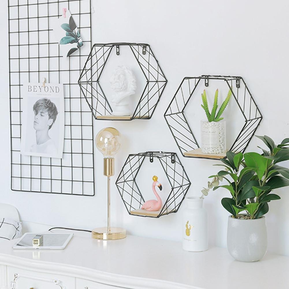Joizo 1pc Eisen Wandregal Aus Metall Hexagonal Regal Metalldraht
