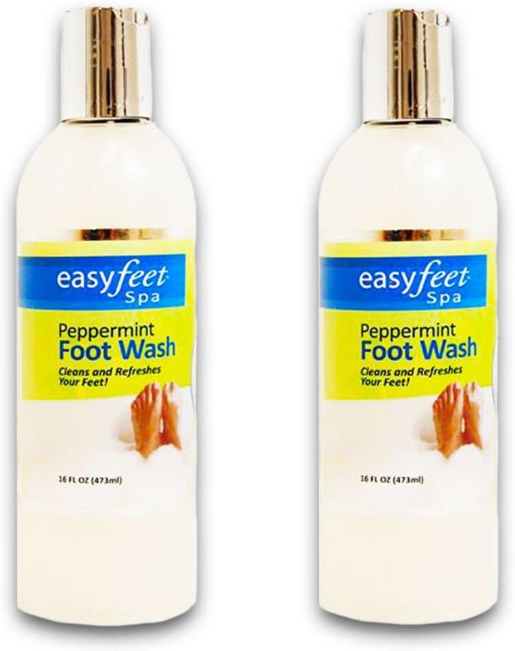 Easy Feet Spa Peppermint Foot Wash 16 Oz. Bottle (2 Pack Bundle)