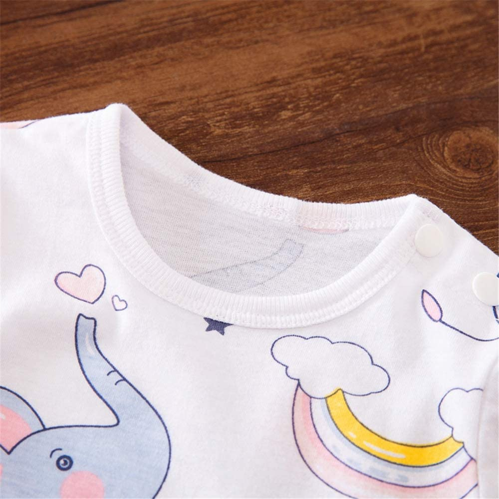 Xuefoo Newborn Baby Boy Girl Romper Little Elephant Print Long-Sleeve Jumpsuit One-Pieces Clothes