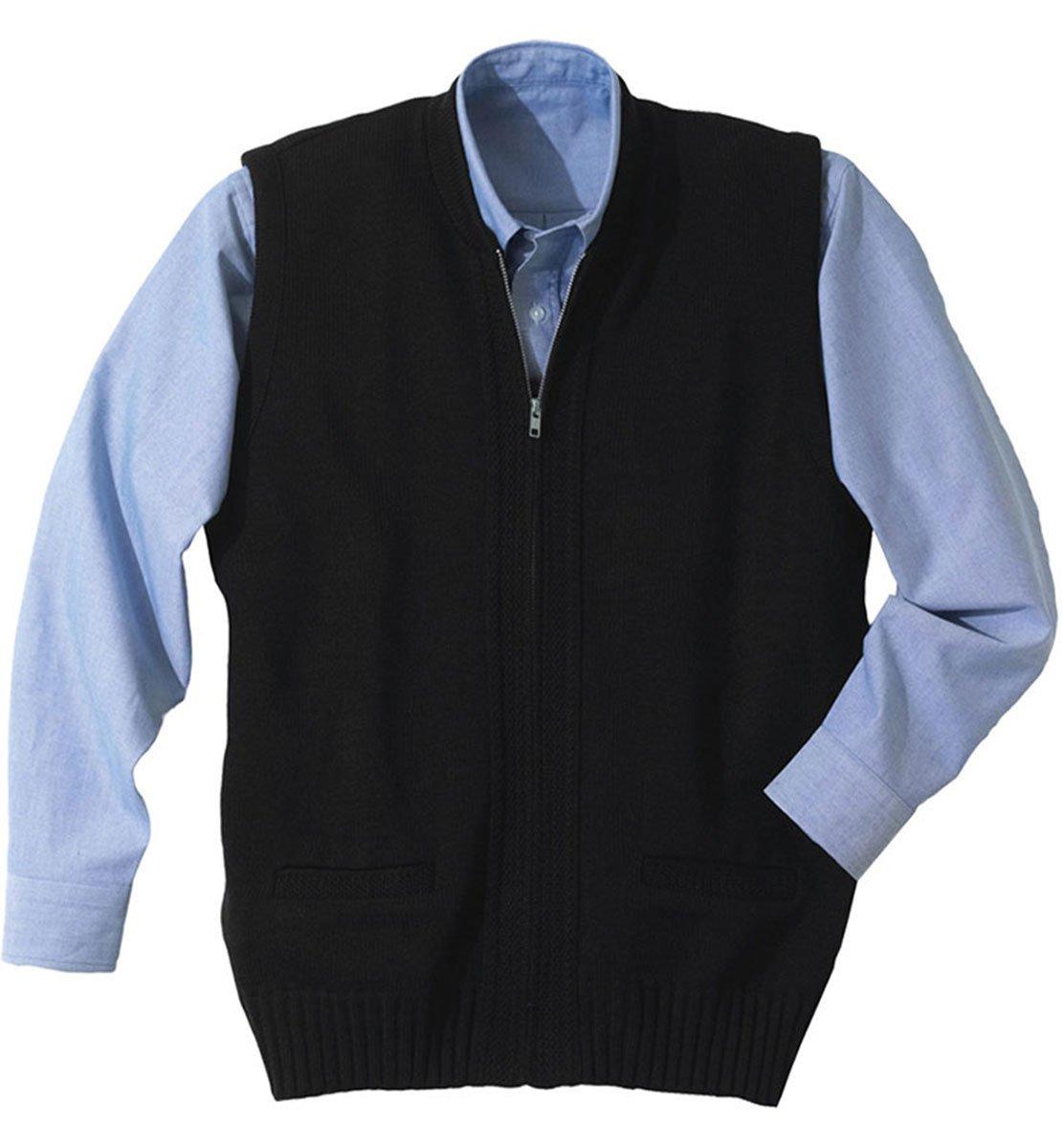 Ed Garments Men's Performance Crew Neck Cardigan Zip Vest , NAVY, L