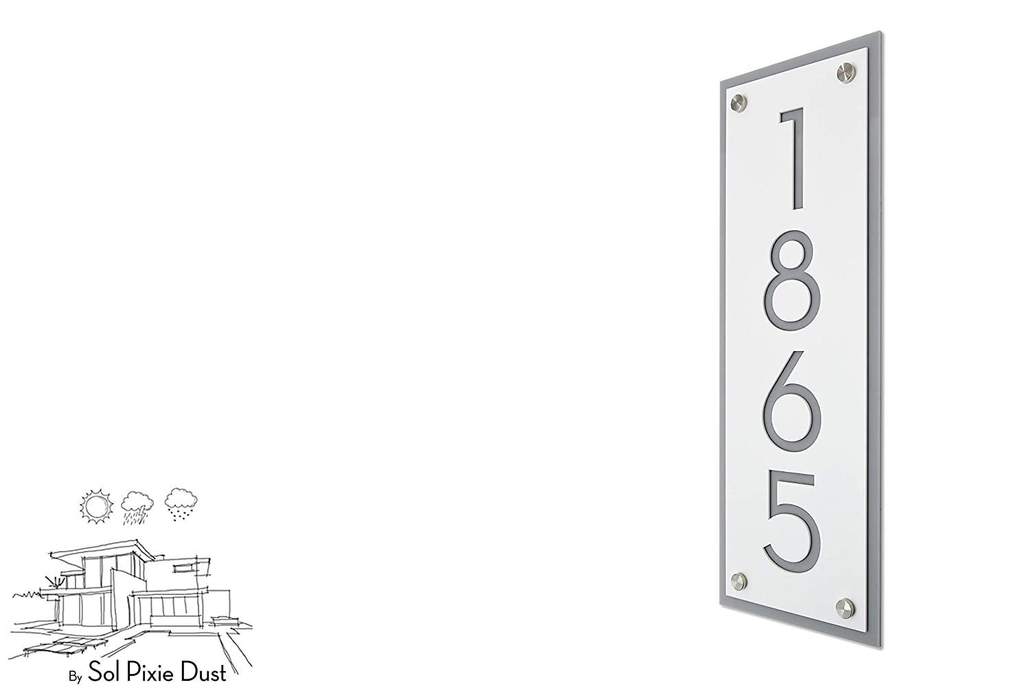 Modern House Numbers, Framed Matte White Acrylic with Gray Acrylic - Vertical - Contemporary Home Address -Sign Plaque - Door Number