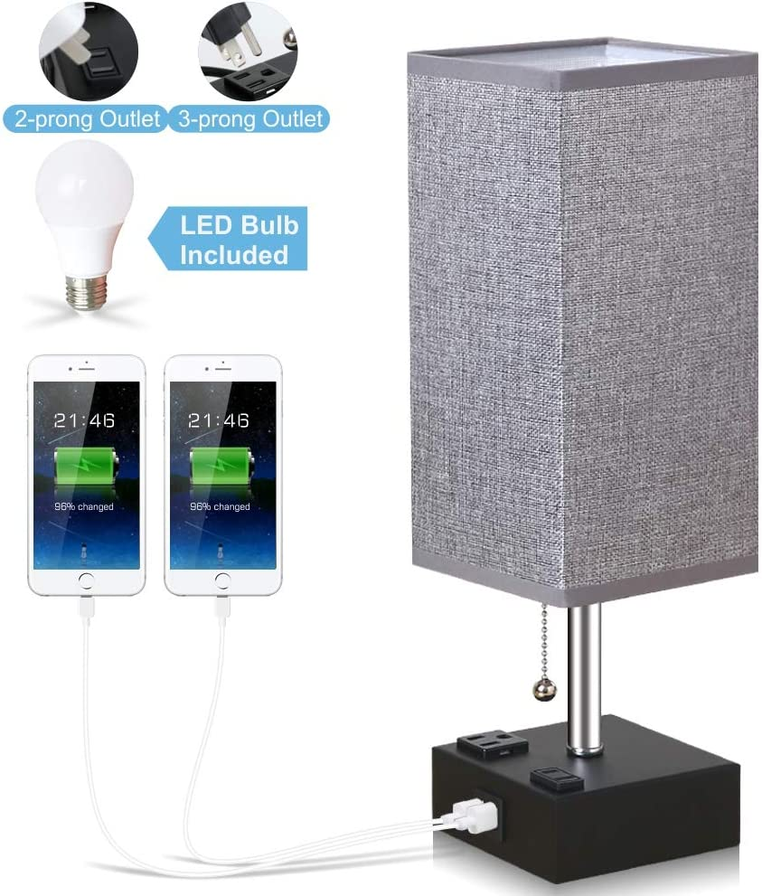 Lifeholder Bedside Lamp, Table Lamp with LED Bulb, Nightstand Lamp Built in Dual USB Charging Ports & Power Outlets, Desk Lamps Perfect for Bedroom, Living Room or Office