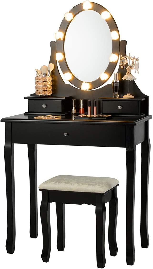 GOFLAME Dressing Table Set, Vanity Set with 360 Rotating and Lighted Oval Makeup Mirror, 3 Drawers Dressing Table with Cushioned Stool, Vanity Table Set for Girls Women, Perfect for Bedroom Black