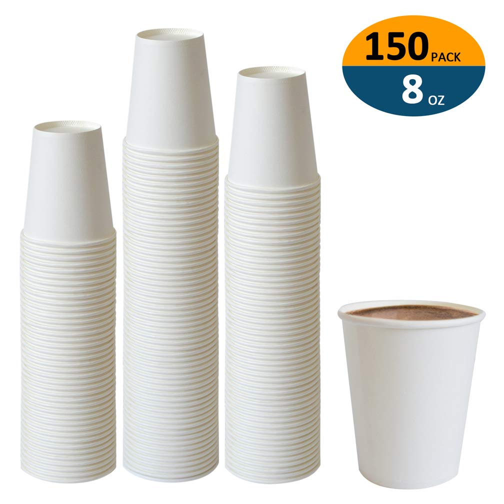 Paper Cups, 150 Pack 8 Oz Paper Cups, Paper Coffee Cups 8 Oz, Hot Cups Paper Coffee Cups Paper Cups 8 Oz Water Paper Cups Paper Coffee Cups 8 Oz Coffee Cups 8 Oz Paper Cups Water Cups Paper Cups by Spark-Light