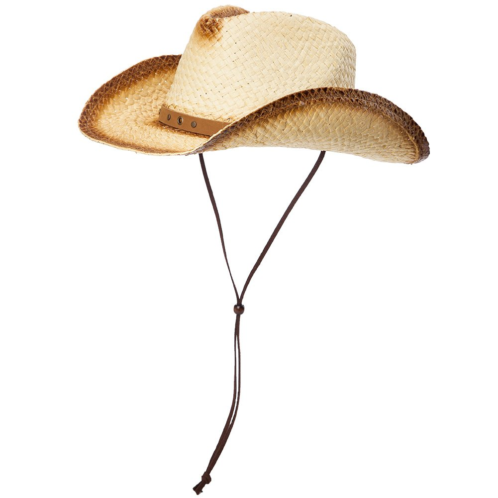 Siggi Cowboy Straw Hat with Leather Band Shapeable Brim - Cowboy Western Aussie Style Outback Bush Hat One Size Chin Cord CM89014-3