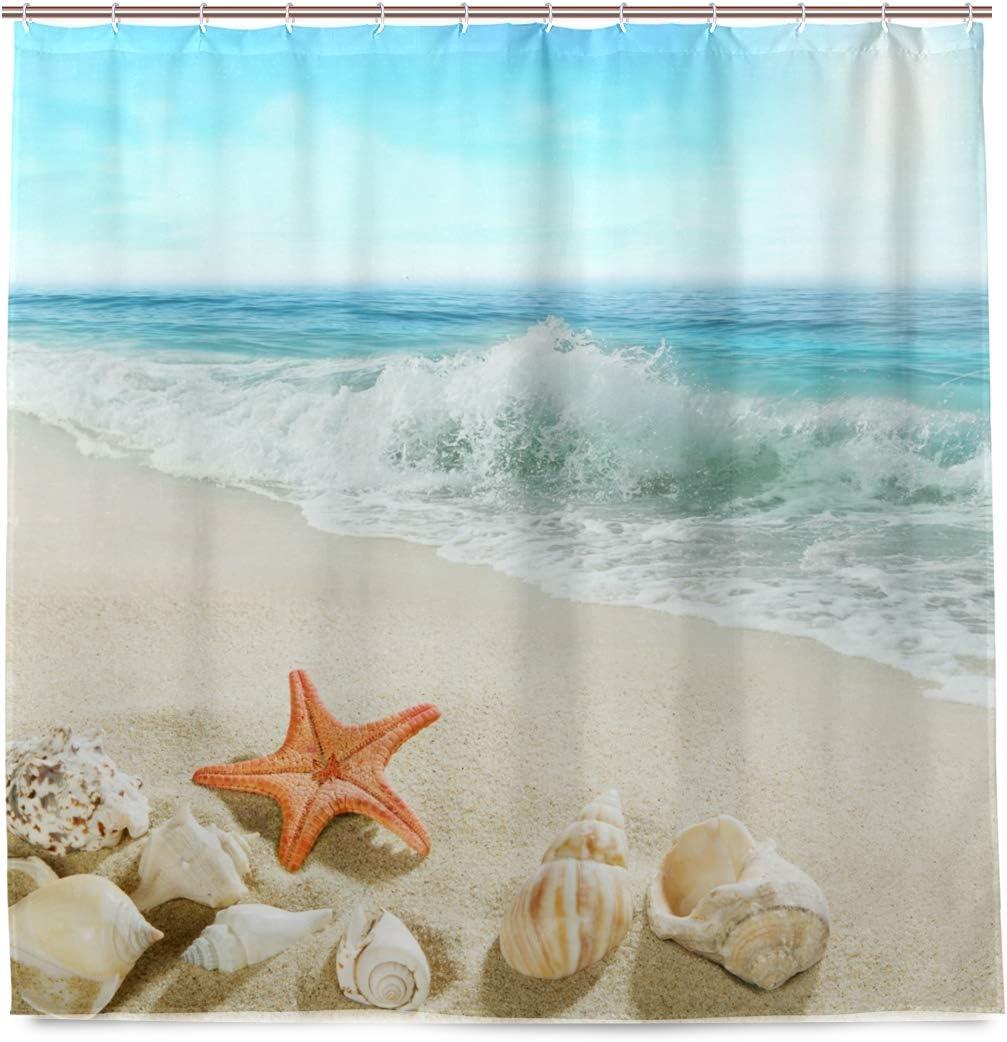 DZGlobal Starfish Beach Shower Curtain Fabric Washable Hawaiian Sea Waves Seashell Blue Sky 3D Printed No-Fade Polyester Shower Curtains Set Bathroom Decor with 12 Hooks 72x72 Inch