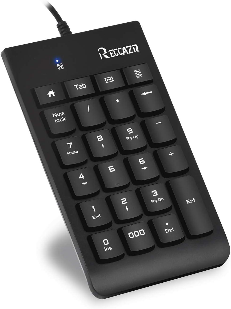 Numeric keypad, 23-Key USB Number Pad Portable, Financial Accounting Numeric Keypad, Numpad with Multi-Function Shortcut Keys for Laptop, Desktop, PC Computer - RECCAZR FN10 (Black+Normal keycaps)