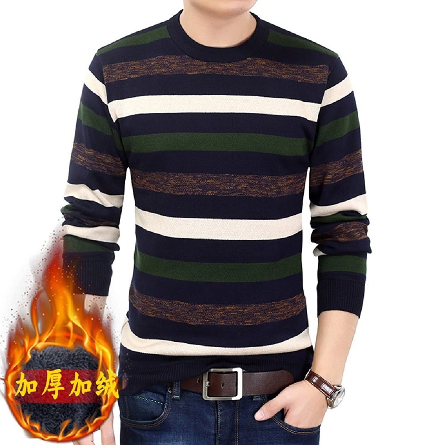 HUAYAN Men's Knitwear Sweaters Crewneck Striped Winter Thick Warm Jumpers Pullovers