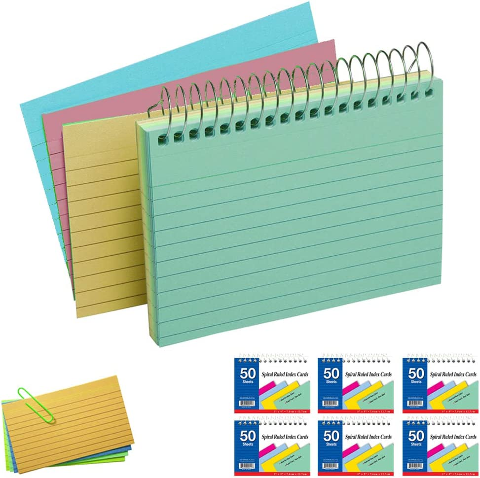 """Spiral Bound Ruled Front Plain Back Index Card assorted Neon Colors 3/""""x5/"""" Used in kitchen Emraw 50 ct Pack of 2 Office Etc. School"""