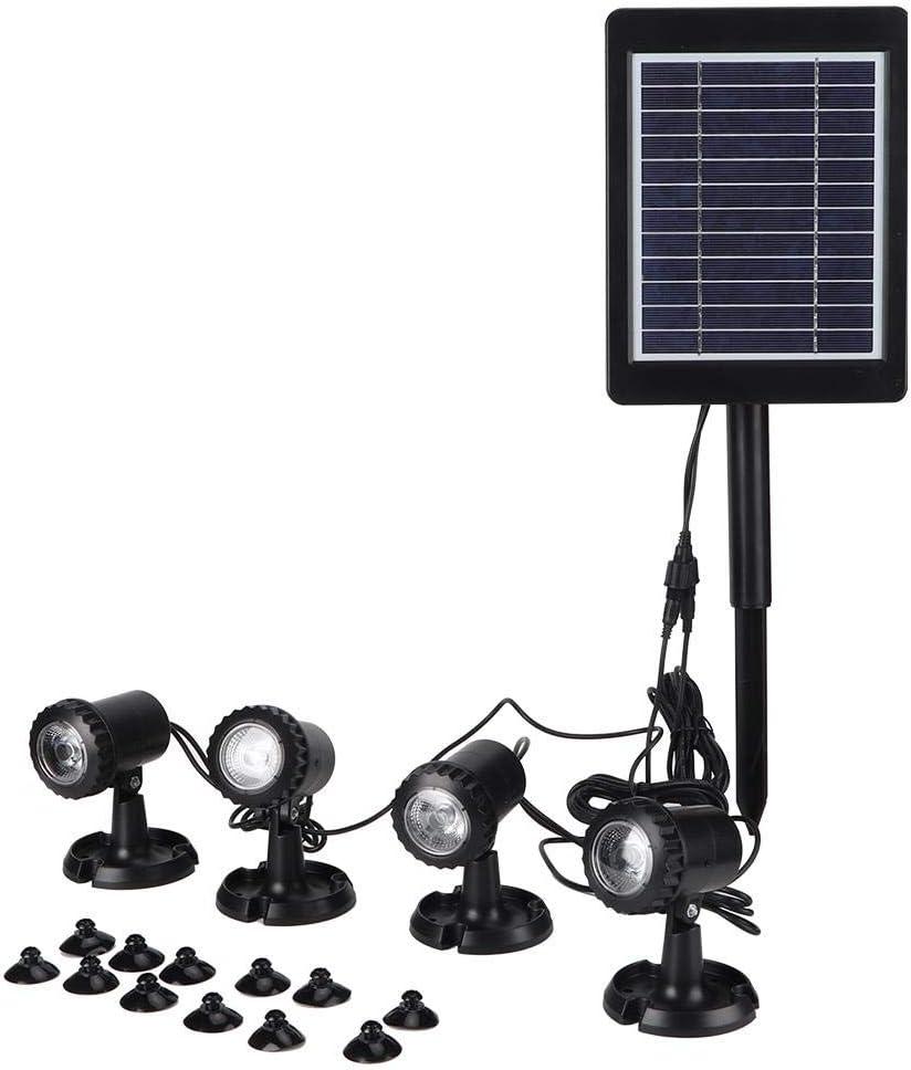 Zoternen LED Luz Solar Sumergible Impermeable IP67 Foco Iluminación con Sensor Crepuscular Resistente al Agua y al Polvo Luz Decorativa Subacuática Blanco para Estanque, Piscina, Jardín