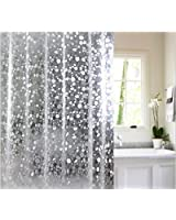 Yellow Weaves PVC Waterproof 3D Shower Curtain With 8 Hooks (54 x 84 IN)