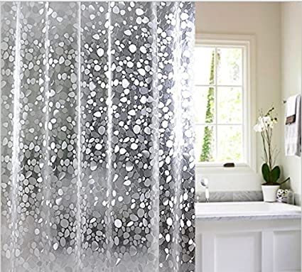Yellow Weaves PVC Waterproof 3D Shower Curtain with 8 Hooks,(54X84-Inch, Transparent)