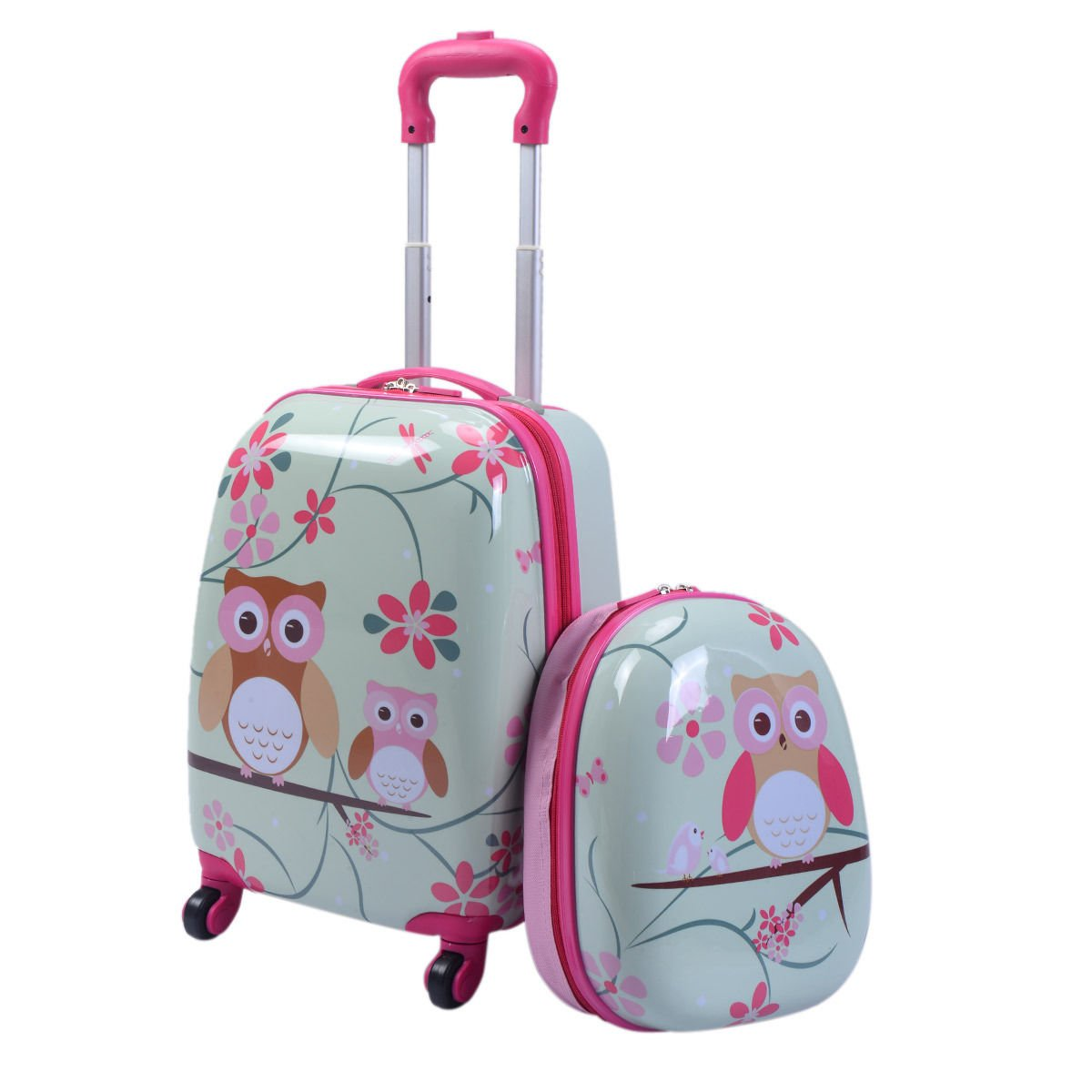 Goplus 2Pc 12'' 16'' Kids Carry On Luggage Set Upright Hard Side Hard Shell Suitcase School Travel Trolley ABS (Owls)