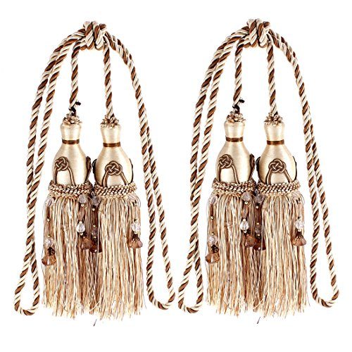 uxcell Window Curtain Hanging Beads Tassel Tiebacks Rope 2Pcs (Outdoor Tassels)