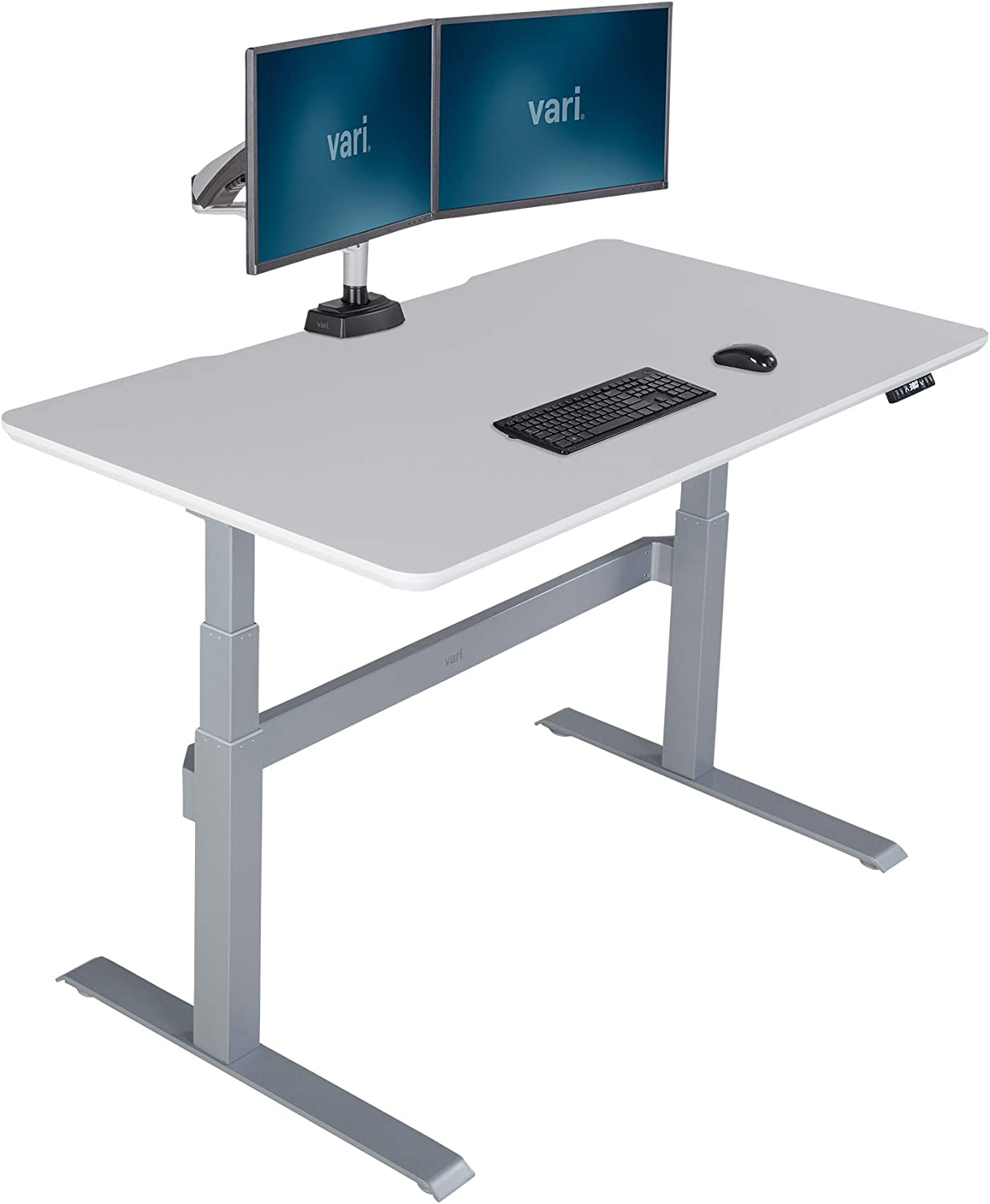 Vari Electric Standing Desk 60 - Sit to Stand Desk - 3 Button Memory Settings - Includes Crossbar w/Cable Management Tray