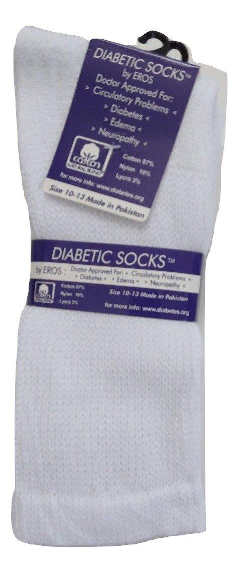 Diabetic Cotton Natural Blend Circulatory Crew Socks 3 Pack (10-13, White)