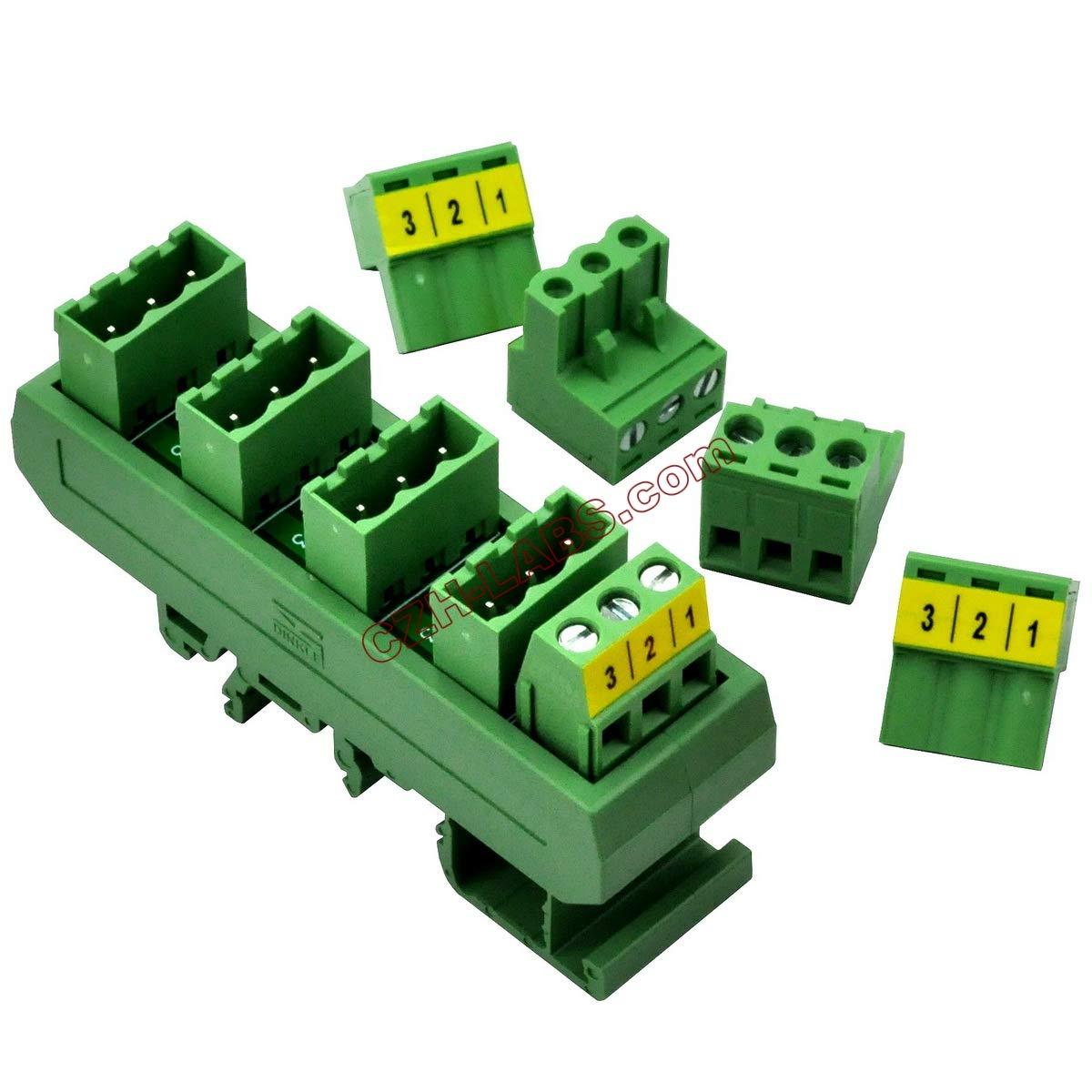 Electronics-Salon Slim DIN Rail Mount 10A/300V 5x3 Position Pluggable Screw Terminal Block Distribution Module.