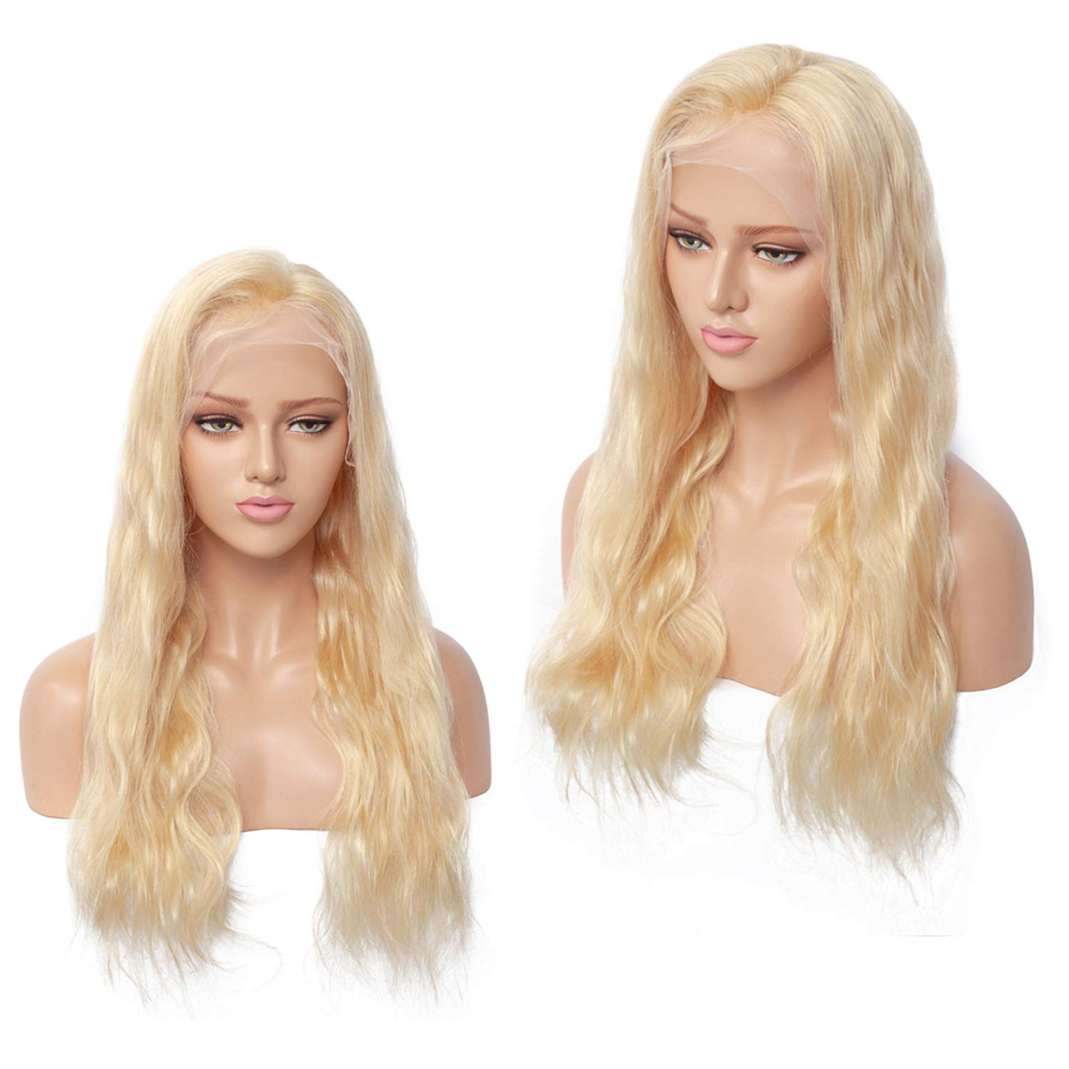 #613 Blonde Full Lace Wigs Peruvian Hair Transparent Lace Full Lace Human Hair Wig With Baby Hair 8-24 Inch,10inches,130%