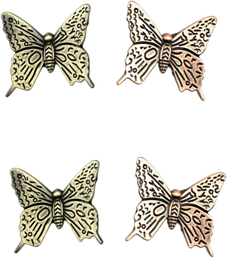 Vosarea 4pcs Antique Butterfly Shaped Metal Drawer Knob Pull Handle Cupboard Door Knobs (2pcs Bronze and 2pcs Red Bronze)