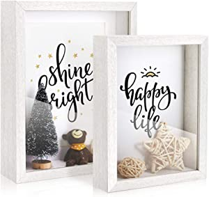 Afuly White Shadow Box 6x8 and 5x7 Simple Wooden Deep Photo Frames Freestanding or Wall Hanging Cards Tickets Case Baby Shower, Set of 2