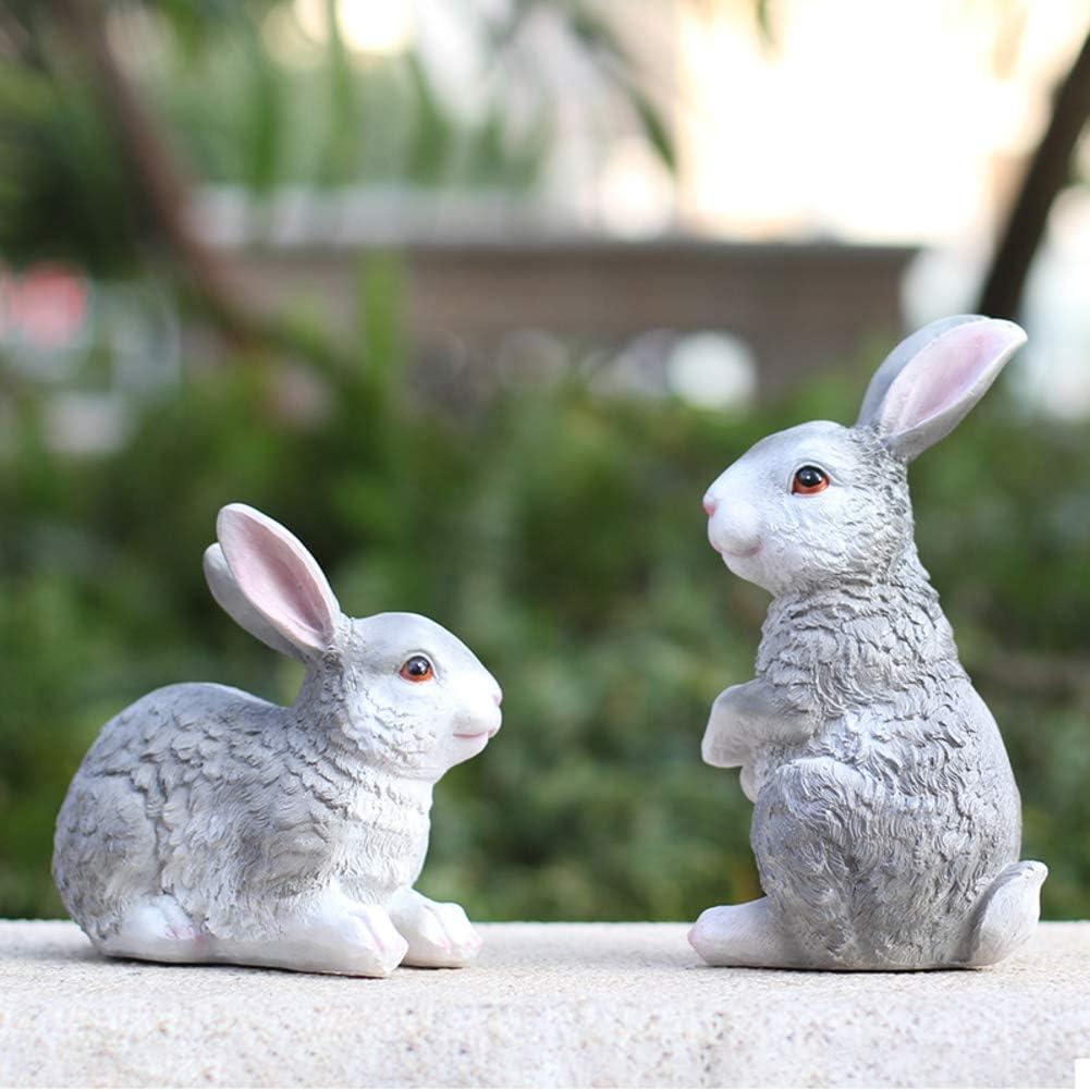 WAYERTY Rabbit Garden Statues,Outdoor Resin Animal Sculptures Simulation Bunny Decor Patio Yard Landscape Lawn Ornaments Figurines Graya 17x11x15cm(7x4x6inch)