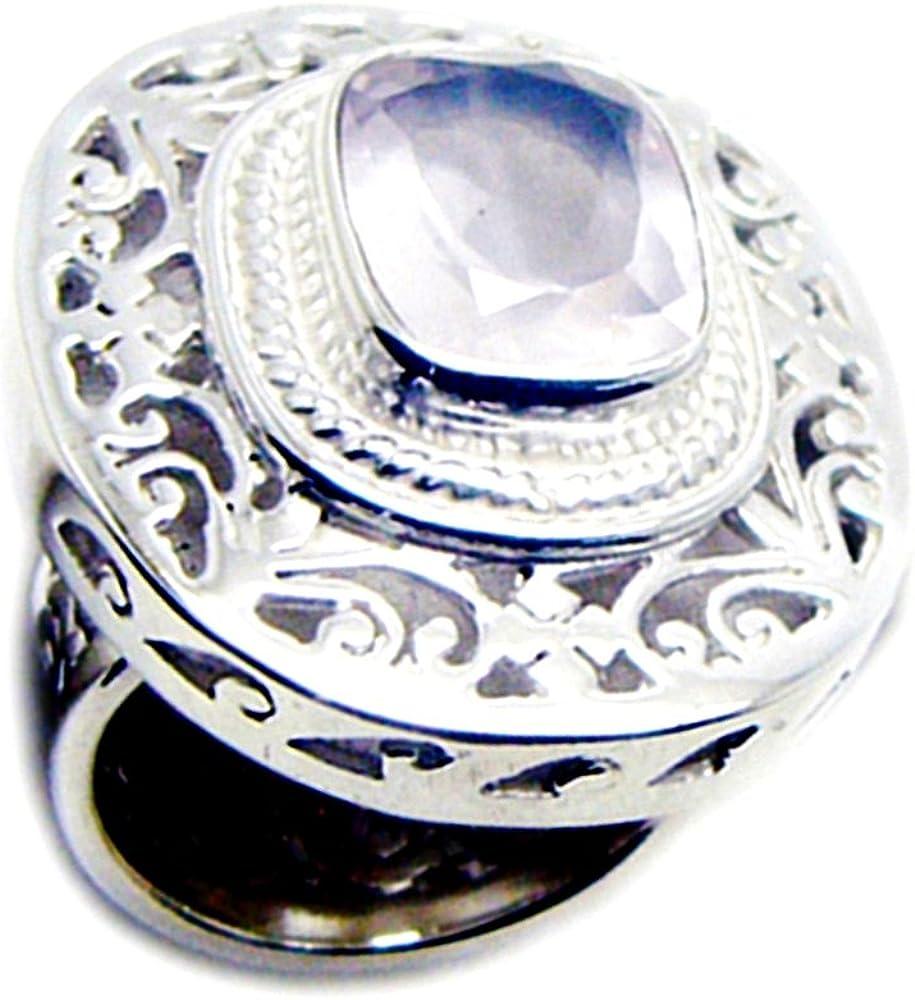 CaratYogi Forma de cojín Anillo de Compromiso de Cuarzo Rosa Genuino de Plata Estilo Vintage Hecho a Mano Tamaño de Dedo
