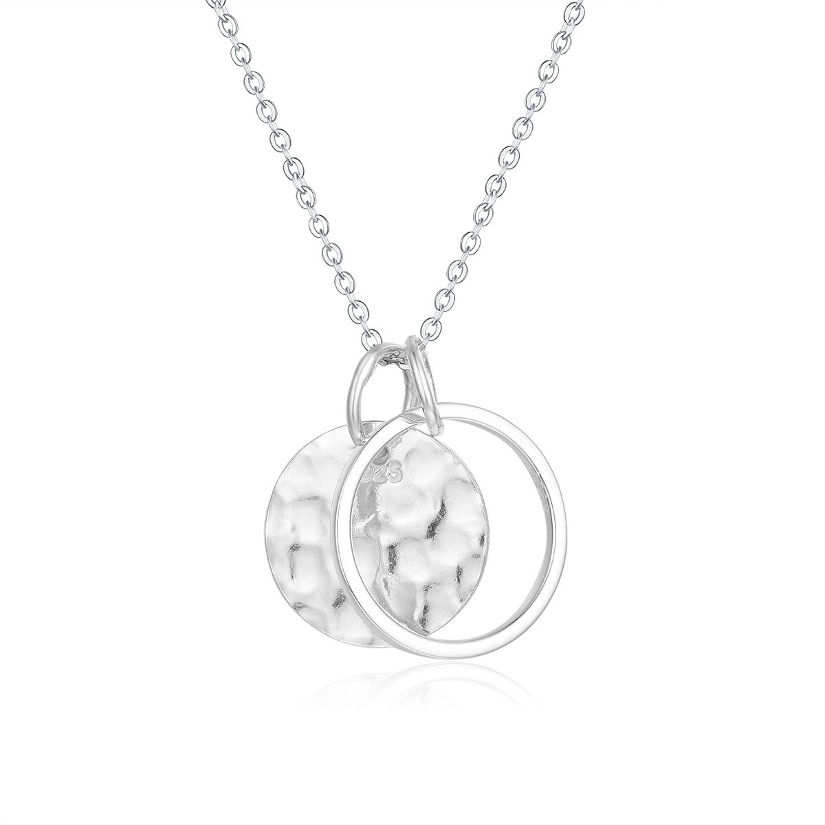 Wellme Sterling Silver Hammered Disc Karma Circle Pendant with 18'' Necklace Chain Fine Jewelry (Karma Circle Rolo Chain)