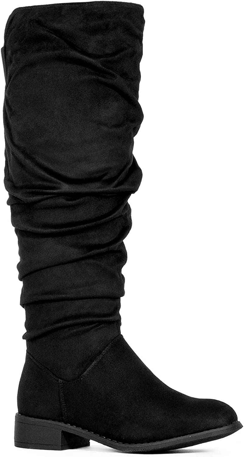 Steve Madden Womens Bend Boot Casual Black Leather Ruffled Riding mid Calf Size 10 M