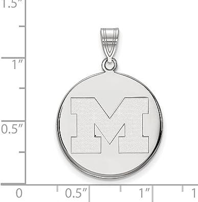 925 Sterling Silver Rhodium-plated Laser-cut University of Nebraska Large Crest Pendant
