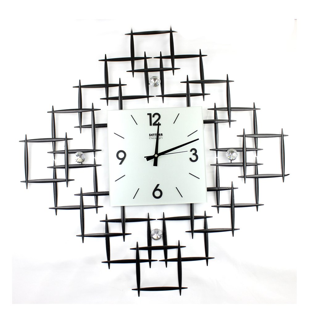 ウォールクロック、壁掛けの装飾的な壁時計 クリエイティブな錬鉄製の壁時計(72cm~28インチ)、リビングルームとベッドルームの時計、静音時計と時計。 B07D6NF1C2