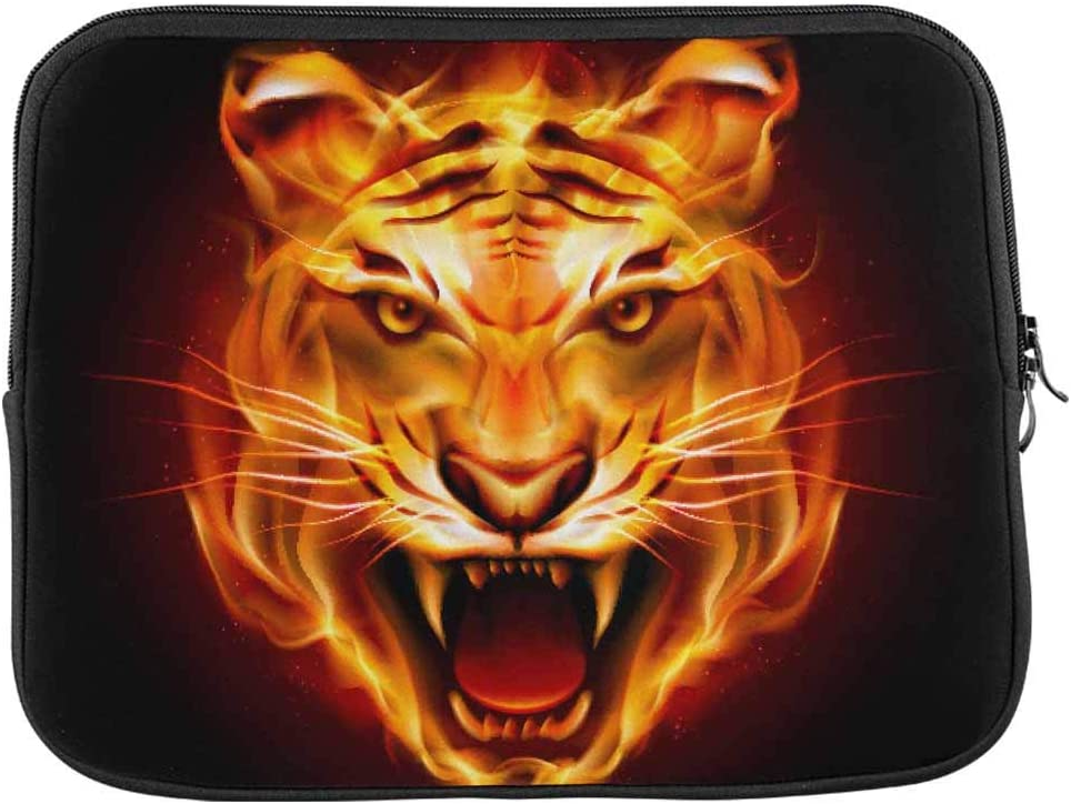 INTERESTPRINT Laptop Neoprene Protective Bag Head of Tiger in Tongues of Flame Notebook Protective Sleeve Case Cover 11 Inch 11.6 Inch