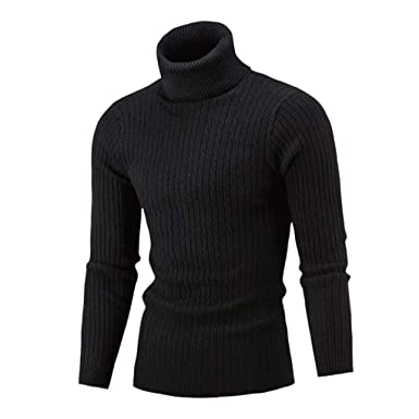 7ddd1e4849fe8 Longay Men s Sweater Plus Size High Neck Pullover Jumper Slim Fit Warm  Knitting Turtleneck Top Blouse