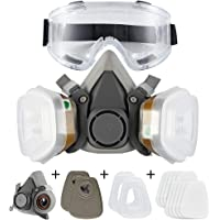 Dust Face Cover Spray Paint Cover Gas Filter Respirator Goggles Reusable Adjustable for Chemical,Industrial,Particulate…