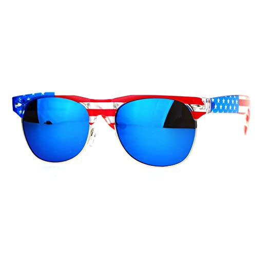 74c065c052fd SA106 Mirror Lens Patriotic USA Flag Print Half Rim Sunglasses Clear Blue