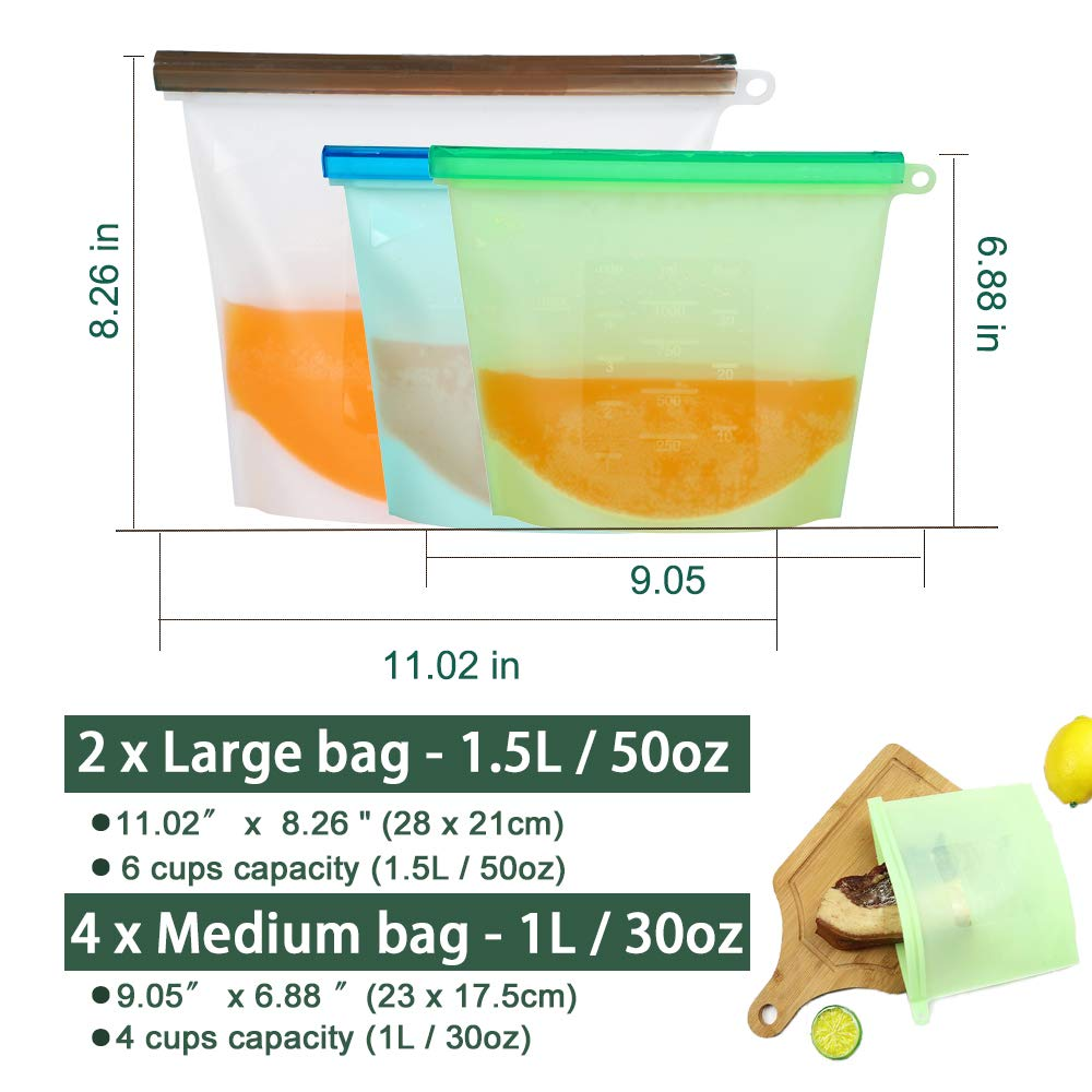 Reusable Silicone Food Bags (2 Large and 4 Medium) - Food Grade/Airtight Seal Silicone Storage Bags for Sandwich, Kids, Lunch, Snacks,Vegetable,Meat - Freezer Dishwasher Safe
