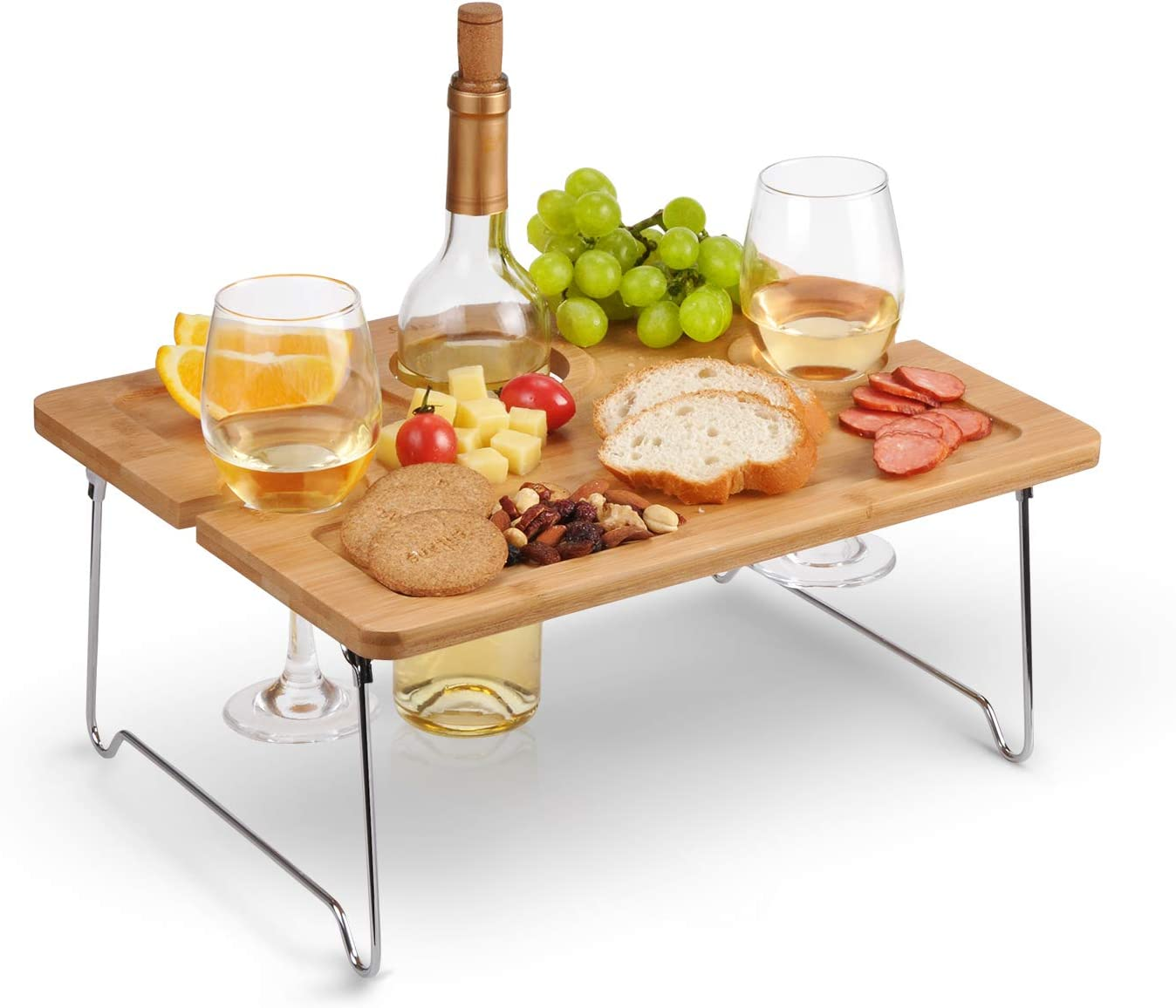 Tirrinia Outdoor Wine Picnic Table, Folding Portable Bamboo Wine Glasses Bottle, Snack and Cheese Holder Tray for Concerts at Park, Beach, Ideal Wine Lover Gift