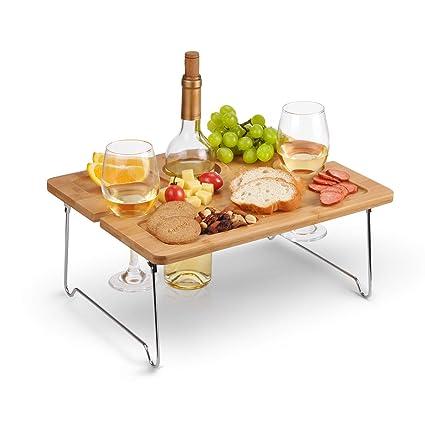 Amazoncom Kato Outdoor Wine Picnic Table Folding Portable Bamboo